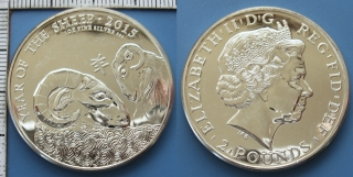 2015 - 2 pounds / 1 Oz, 999 stříbro - Velká Británie, Year Of The Sheep