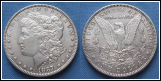 1887 - 1 dollar, stříbro - Morgan, USA